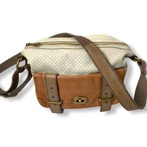 Vintage FOSSIL Crossbody Perforated Leather Bag.
